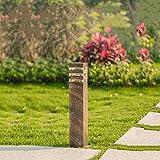 Retro Wegeleuchte Außen Outdoor Bronze Sockellampe Gartenlampe Aluminium und Acryl Terrassenlampe Wasserdicht IP44 Pollerlampe für Rasen Eingangs Terrassen Patio Park Pfad Hof 9 * 13 * 40CM