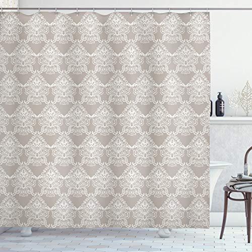 ABAKUHAUS Taupe Douchegordijn, Royal Taupe Tone, stoffen badkamerdecoratieset met haakjes, 175 x 180 cm, Taupe White