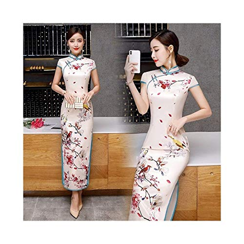 Cheongsam Manga corta de primavera y verano largo retro cheongsam doble capa de seda cheongsam auto-cultivo Mejora Diaria cheongsam vestido (Color : 25, Size : M)