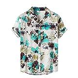 feftops Camisa Solapa Hombre Hawaianas Vintage Manga Corta Camisa Estampada Playa de Verano Camisas Con Costuras A Rayas Moda Botón Informal Abajo Blusa Tops M-XXXL