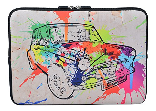 MySleeveDesign Laptoptasche Notebooktasche Sleeve für 10,2 Zoll / 11,6-12,1 Zoll / 13,3 Zoll / 14 Zoll / 15,6 Zoll / 17,3 Zoll - Neopren Schutzhülle mit VERSCH. Designs - Colored Car [10]
