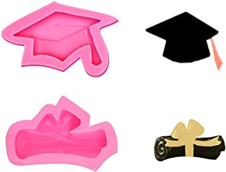 Graduation Cap Diploma Silicone Mold Fondant Chocolate Candy Soap Ice Cube Clay Molds DIY Tools for Grad Party Decorations