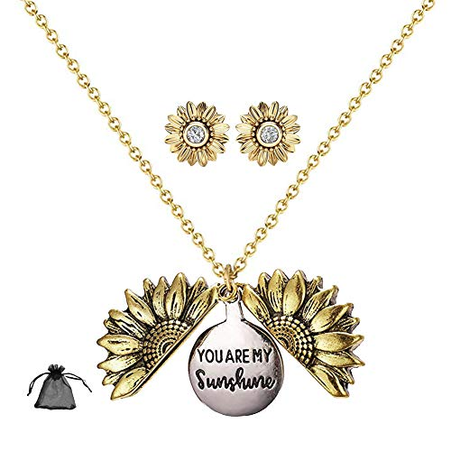 Conjunto de Girasol Collar de Aretes, Aretes de Oro Grabados Que se Pueden Abrir para Mujeres 3 Piezas
