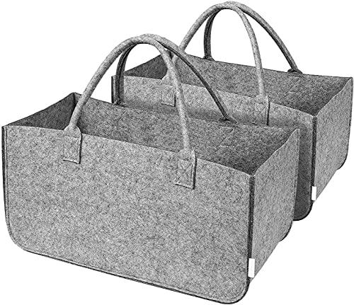 2 Cestas de Fieltro para Leña Bolsas Reutilizables Compra Cesta Plegable para Almacenar Leña Frutas Periódicos Artículo de Compra con Asas 49x25,5x25,5 cm (gris)