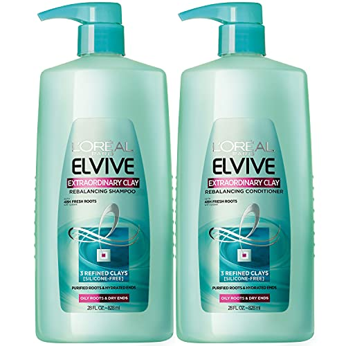 L'Oreal Paris Elvive Extraordinary Clay Rebalancing Shampoo and Rebalancing Conditioner Set for oily hair and dry ends, silicone-free, 1 kit