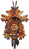 Alemán Reloj de cuco - mecanismo con cuerda para 1 día - tallado en madera - 46 cm...