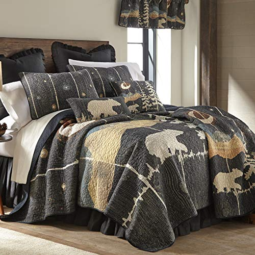 Donna Sharp King Bedding Set - 3 Piece - Moonlit Bear Lodge Quilt Set with King Quilt and Two King...