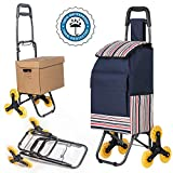 "LUCKUP Folding Shopping Cart, Stair Climbing Cart Grocery Laundry Utility Cart with Wheel Bearings Stainless Steel Frame (37""x16""x14', Deep Blue)"