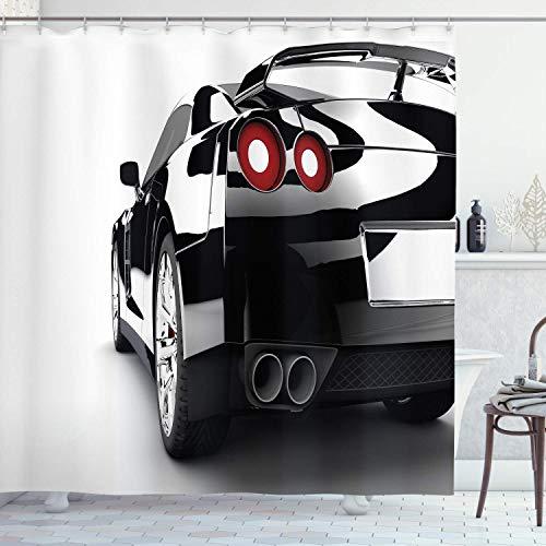 N\A Autos Duschvorhang, Teilansicht eines modernen Sportwagens von hinten Starkes Motorauto, Stoff Stoff Badezimmer Dekor Set mit Haken, Schwarz Weiß & Rot
