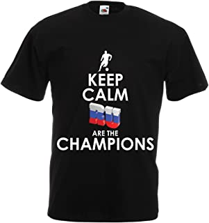lepni.me T Shirts for Men Keep Calm, Russian are The Champions