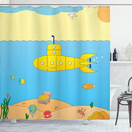 "Ambesonne Yellow Submarine Shower Curtain, Cartoon Under Sea Adventure Jellyfish Treasure Chest Seagull Fish, Cloth Fabric Bathroom Decor Set with Hooks, 70"" Long, Blue Yellow"