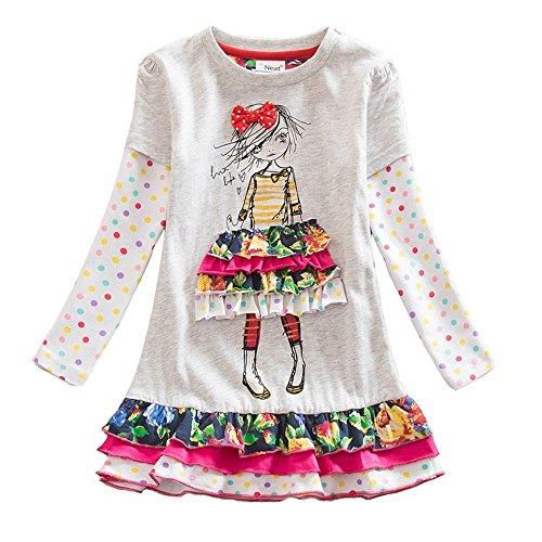 Neat Mädchen Blumen Langarm Baumwolle Kleid, 5-6 Jahre=110cm-116cm, LH3660Gray 6T