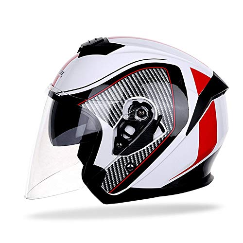 Motorcycle Half Face Helmet Motorbike Jet Crash Helmet with with Double Sun Visor Cruiser Chopper Moped Scooter ATV Helmet DOT/ECE Approved Half Cycling Helmets