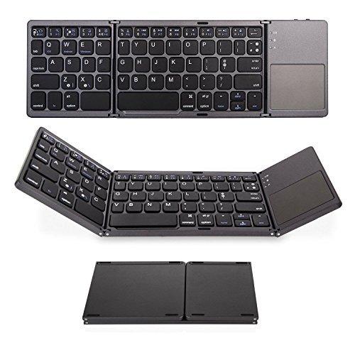IKOS - Tastiera pieghevole Bluetooth con touchpad, ultra sottile e pieghevole per iPhone X 8 7 6 6S Plus, iPad Pro Air Mini, Samsung e altri smartphone Android/tablet, BT wireless