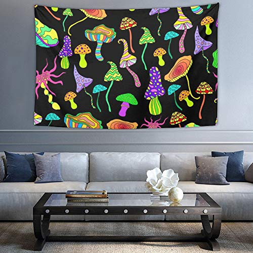 Price comparison product image NiYoung Wall Hanging Queen Tapestry,  Boho Hippie Hippy Wall Tapestry,  Indian Wall Decor,  Bright Hallucinogenic Decorative Fantastic Mushroom,  Kids Girls Boys Room Hippie Tapestries