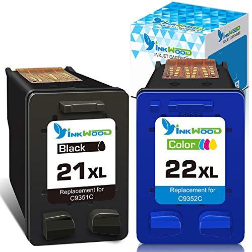 Inkwood Remanufacturado HP 21 XL 22 XL 21XL 22XL Cartucho de Tinta ( 1 Negro,1 Tricolor) para HP Deskjet 3940 D1530 D2360 D2460 F2180 F2224 F380 F4180 Officejet 4315 4355 5610 5615 PSC 1410
