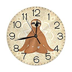 Dujiea Sloth Yoga Lotus Round Wall Clock Silent Non Ticking Battery Operated 9.5 Inch for Student Office School Home Decorative Clock Art