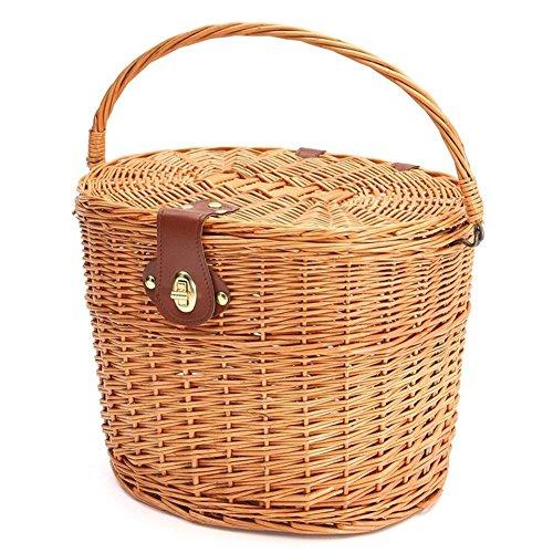 Urben Life gevlochten fietsmand vooraan stuurmand, rieten mand, hangmand vooraan, milieuvriendelijke handgeweven mand, woven Basket