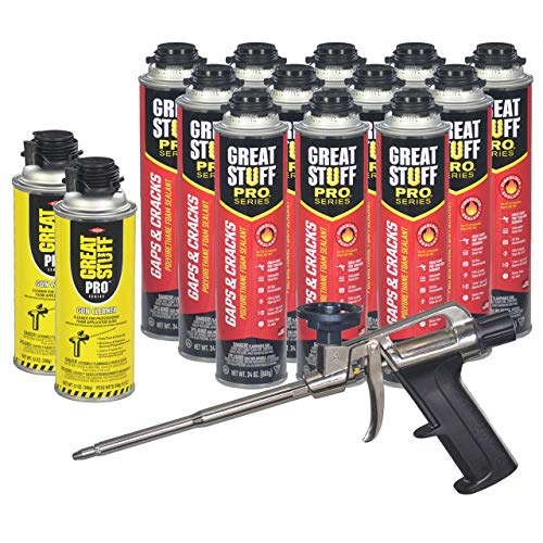 Dow Pro Gaps and Cracks 24 oz Gun Foam (12) + Great Stuff Pro 14 Dispensing Gun (1)+Great Stuff Pro foam Gun Cleaner (2)