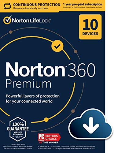 Norton 360 Premium 2021 – Antivirus software for 10 Devices with Auto Renewal - Includes VPN, PC Cloud Backup & Dark Web Monitoring powered by LifeLock [Download]