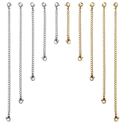 Aroncent 8 stuks roestvrij stalen ketting verlenging armband ketting verlenging, 50 mm / 75 mm / 100 mm / 125 mm / 150 mm, goud en zilver