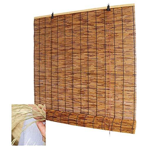 Persiana enrollable de bambú Cortina romana de caña natural Cortina enrollable de bambú Cortina enrollable de caña para exteriores, resistente al agua /aislamiento térmico,para interior/patio/balcón.