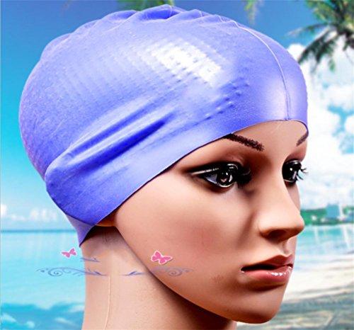 Swimming cap HLCasquette De Bain À Capuche À Capuche À Capuche Long Cheveux Étanche Lady Goggles Bonnet De Bain Casquette De Base Féminine, Blue,Blue