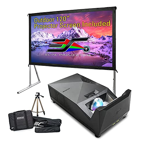 EliteProjector Ultra Short Throw Projector Bundle, 120 Inch Outdoor Screen with Stand, 8k 4K 1080P IPX2 Portable Home Theater, 37800Ah Power Bank, 1500 LED Lumen, 8Wx2 Speaker, Movie, Gaming, MosicGO