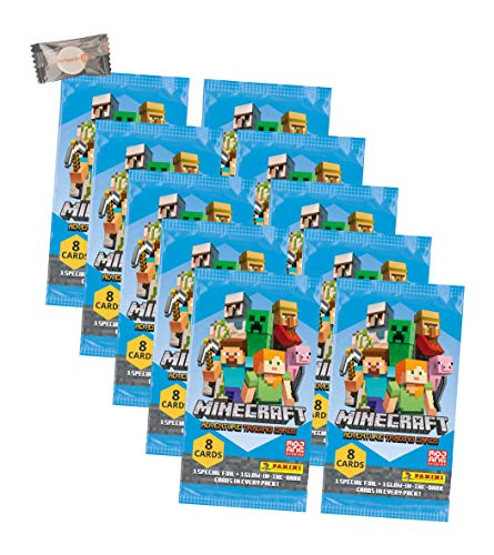 ★ Minecraft Karten Adventure - Minecraft Trading Cards (2021) - 10 Booster + stickermarkt24de Gum