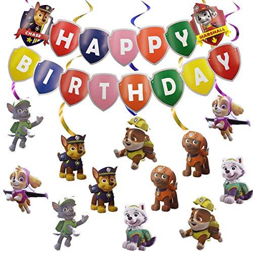 Compleanno Decorazioni - SUNSK Happy Birthday Banner Paw Dog Patrol Spirale Decorazioni Feste Forniture Accessori Party Decor 13 Pezzi