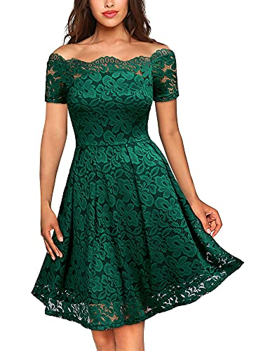 MISSMAY Women's Vintage Floral Lace Short Sleeve Boat Neck Cocktail Party Swing Dress, Small, Green