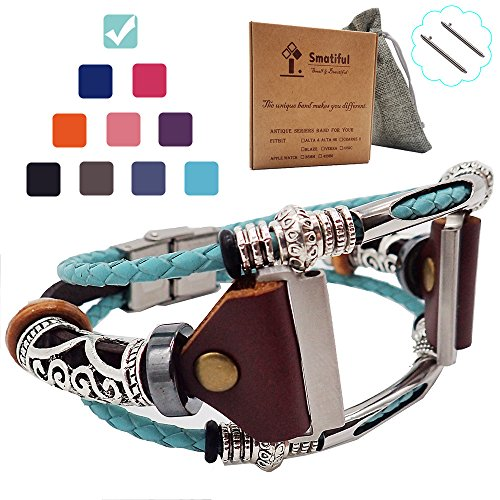 Smatiful Sleeve Bands with Paper Case and Carrying Bag for Boys, Adjustable Replacement Watch Band with Metal Clasp for Fitbit Brand Blaze HR Fitness, Teal Green Aqua