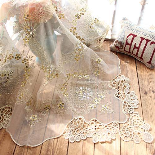 GODXMDD Mantel de Encaje de Crochet,Cuadrado Mantel Bordado para la Boda Mesita Transparente Cordón Cubierta de la Tabla Tabla de la vanidad-Dorado 85x85cm(33x33inch)