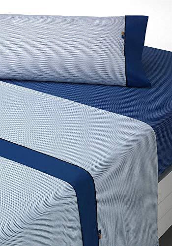 SABANALIA - Juego de sábanas Estampadas Mota (Disponible en Varios tamaños y Colores), Cama 150, Azul