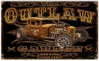 Outlaw Hot Rod Garage Art Metal Sign by Steve McDonald 18x30