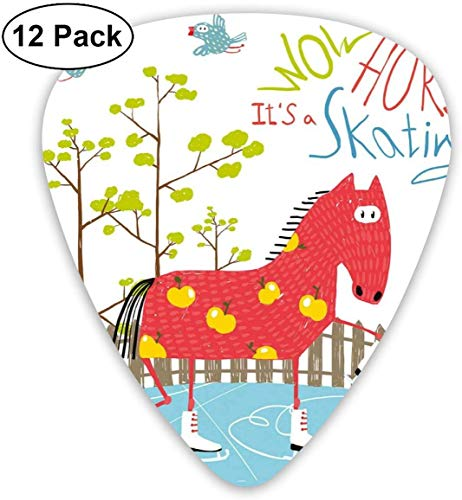Plektren - 12er Pack, Wow sein Eislaufpferd auf Eis Amüsante bunte Cartoon Tree Birds Pattern Winter, für E-Bass Akustikgitarre
