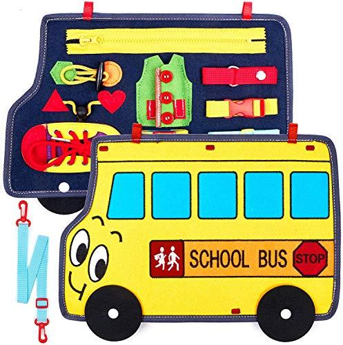 Tacobear Tablero Montessori Juguetes Educativos Portátil Busy Board Aprendizaje Habilidades de Vida Básicas Juguetes Sensoriales Tablero Actividades Regalo para Niños Niñas 1 2 3 4 Años