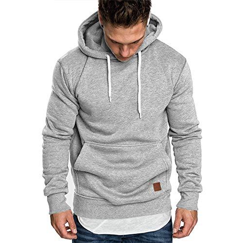 Umelar Herren Kapuzenpullover Sweatshirt Herren Hoodie Sweatjacke Pullover Hoodie (Hell grau, M)