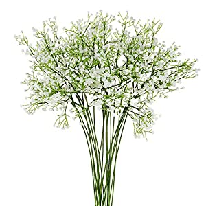EZFLOWERY 12 Pcs Artificial Babys Breath Flowers, Gypsophila Real Touch Flowers for DIY Wedding Bouquets, Crown, Party, Hotel, Table, Home Decoration