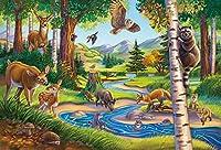 Leezeshaw 5D 自然の風景 森林 動物園 ダイヤモンド絵画キットフルダイヤモンド刺繍DIY手作りラインストープレゼントホームデコレーションパターン壁の装飾初心者のレジャーに最適 (40x30cm)