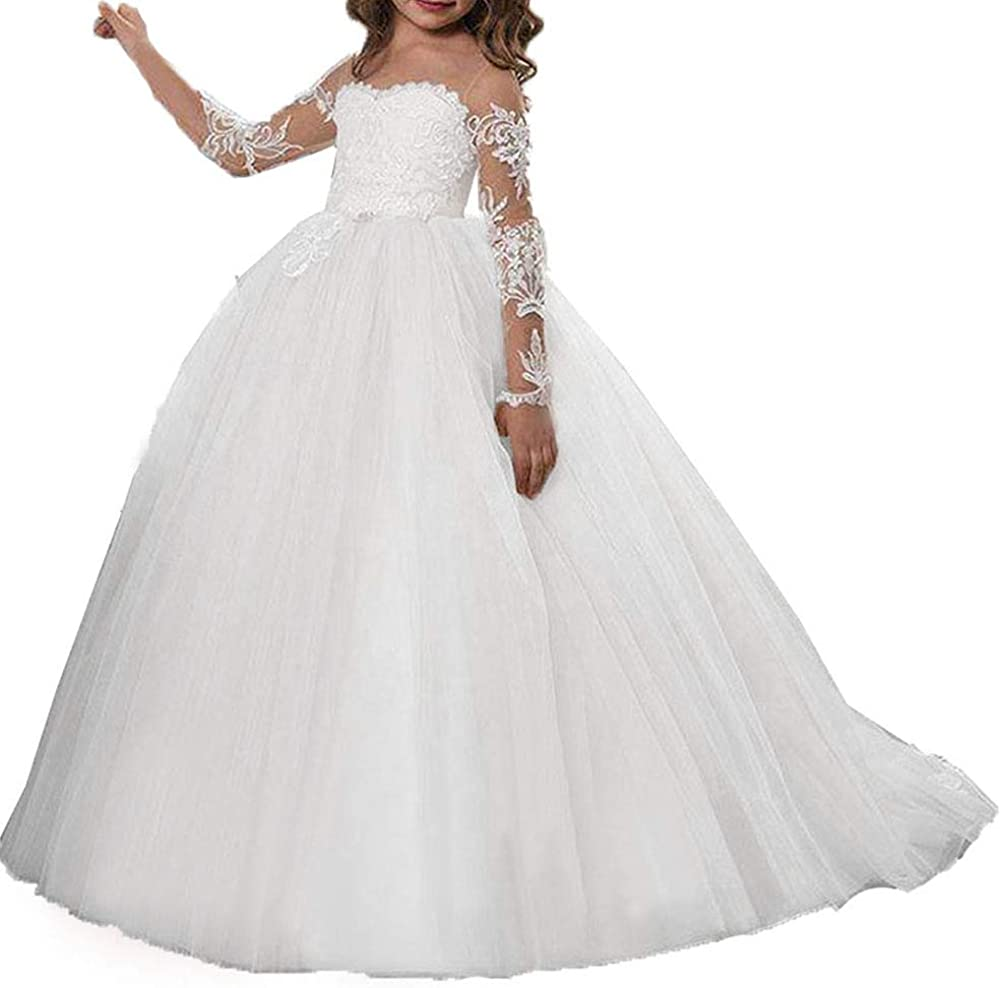 Fairy Girl Flower Girl Dress Lace Tulle Junior Bridesmaid Dress for Wedding Ball Gown Ivory and Champagne