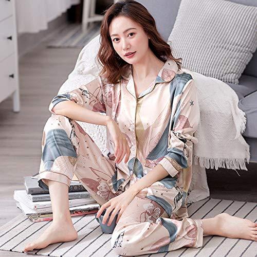 YPDM Summer pajamas,summer black Pajamas Set Casual Loose Satin Pijamas Suit Women Nightwear 2PCS Sleepwear Long Sleeve Satin Shirt&pant 3XL,Style 2,XXXL
