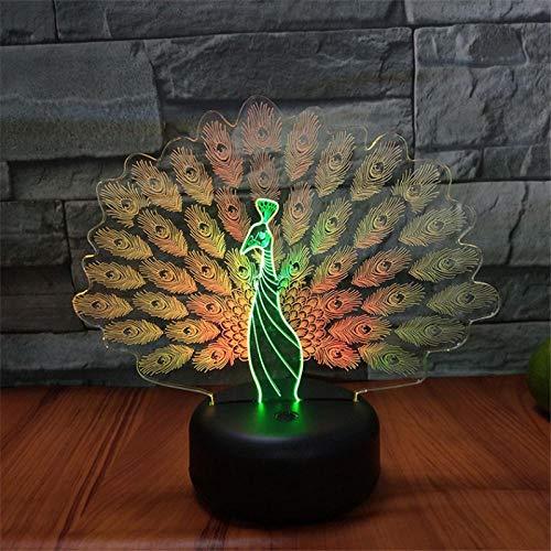 Pavo real 3d luz de noche led visual colorida lámpara de carga táctil regalos de mesa decoración del hogar de cumpleaños iluminación creativa