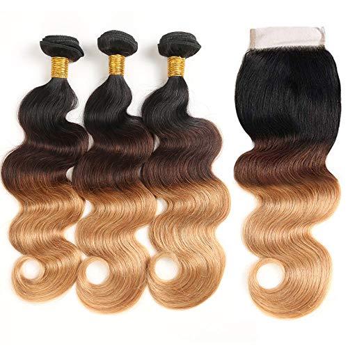 T1B/4/27 Bundles with Closure Body Wave 100% Unprocessed Brazilian Human Hair Ombre Blond Virgin Human Hair Weave 3 Bundles with 4x4 Lace Closure (12 14 16+10#T1B/4/27)