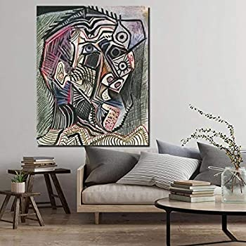 Pablo Picasso Self Portrait Canvas Painting Prints Living Room Home Decor Artwork Modern Wall Art Painting Posters Pictures 40x50cm 16x20in  Unframed