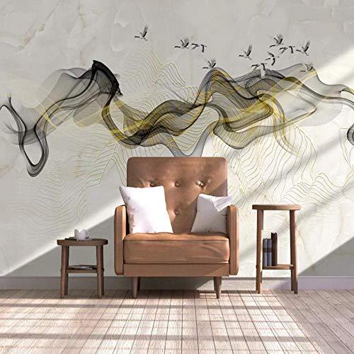 HUATULAI muurschildering 3D behang marmer patroon abstract goud lijn inkt landschap achtergrond muur papier muurschildering 350*245cm/B*h