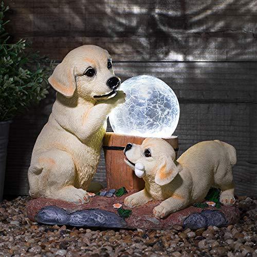 GloBrite Solar Garden Labrador Dogs Ornament With Solar Powered Crackle Ball Light - Decorative Outdoor Animal Light