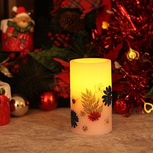 simpdecor Flackernde LED Kerze Batteriebetriebene Kerze mit Timer mit Blumen (3x5 '') - Pink