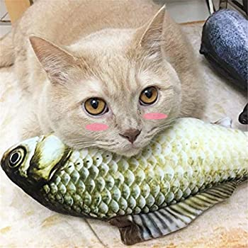 zhiwenCZW 1PC Creative Pet Chat Chaton Mâcher Chat Jouets Cataire en Peluche Poisson Interactif