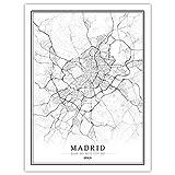 SKLHSIL Impresión De Lienzo, Arte Mural De Pared Moderno España Madrid Mapa Ciudad Simple Negro Blanco Póster Imagen Pintura Oficina Sala De Estar Hogar Dormitorio Decoración 50X70